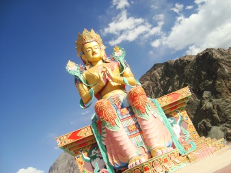 Buddha statue at Diskit Gompa Monastery